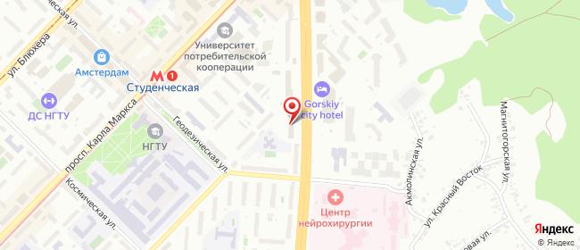 Карта расположения пункта доставки Новосибирск Немировича-Данченко в городе Новосибирск