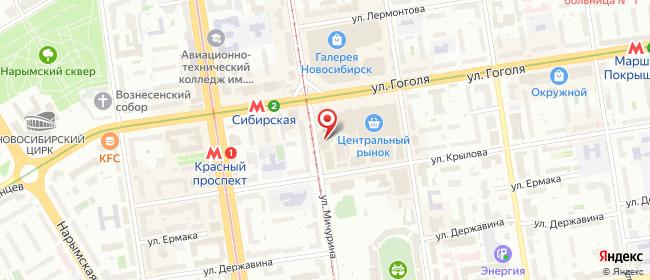 Карта расположения пункта доставки Новосибирск Мичурина в городе Новосибирск