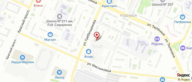 Карта расположения пункта доставки СИТИЛИНК в городе Новосибирск