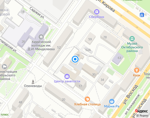 Управляющая компания «Октябрьская» на карте Новосибирска