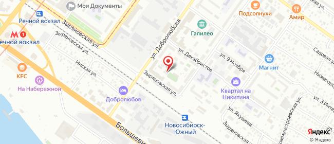 Карта расположения пункта доставки Билайн в городе Новосибирск