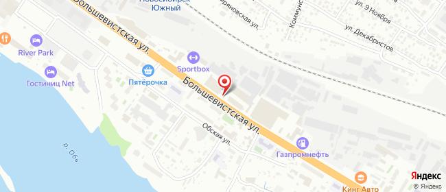 Карта расположения пункта доставки Новосибирск Большевистская в городе Новосибирск