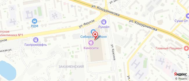Карта расположения пункта доставки Новосибирск Фрунзе в городе Новосибирск