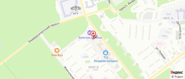 Карта расположения пункта доставки Ростелеком в городе Новосибирск
