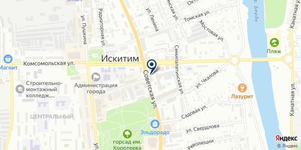 Метелица на карте Искитиме