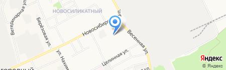 Весенний на карте Барнаула