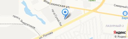 Шинхран на карте Барнаула