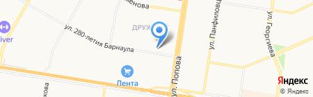 Дружный на карте Барнаула