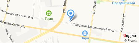 Лазурный на карте Барнаула
