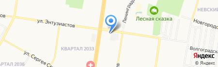 Автостоянка на ул. Энтузиастов на карте Барнаула