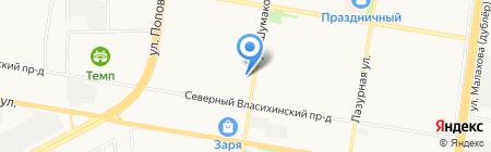 Конфеттель на карте Барнаула