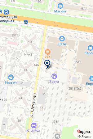 Шиномонтажная мастерская на ул. Шумакова на карте Барнаула