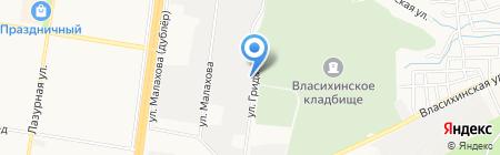 Уголёк на карте Барнаула