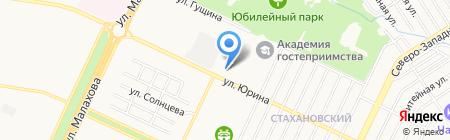 Магазин продуктов на ул. Юрина на карте Барнаула