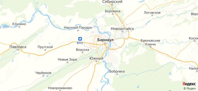 Отдых в Барнауле недорого - объекты на карте