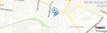 Новороссийская на карте Барнаула