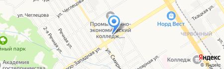 Калатея на карте Барнаула
