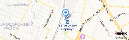 Пригородный железнодорожный вокзал на карте Барнаула