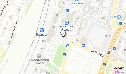 Автостоянка Автовокзал. Схема проезда в Барнауле