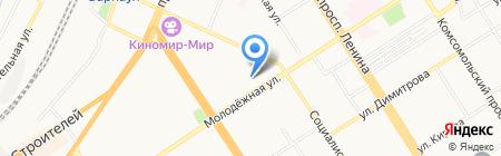 Толстая креветка на карте Барнаула