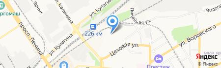 Автомойка на Цеховой на карте Барнаула