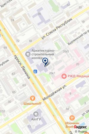 ДЕТСКО-ЮНОШЕСКИЙ ЦЕНТР КОМИТЕТ ПО ОБРАЗОВАНИЮ АДМИНИСТРАЦИИ Г. БАРНАУЛА на карте Барнаула