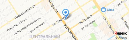 Бирюзовая Катунь на карте Барнаула