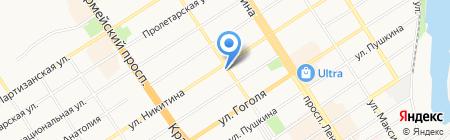 Сеть аптечных пунктов на карте Барнаула