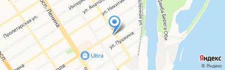 Акварель на карте Барнаула