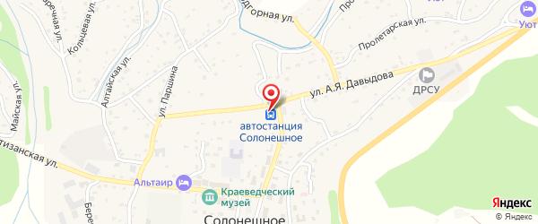 Место расположения автовокзала в селе Солонешное на Яндекс.Картах