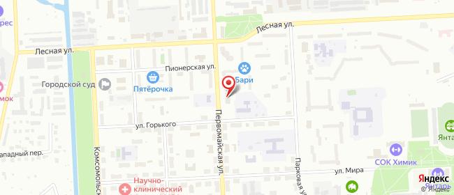 Карта расположения пункта доставки Северск Первомайская в городе Северск