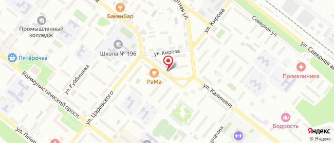 Карта расположения пункта доставки Северск Калинина в городе Северск