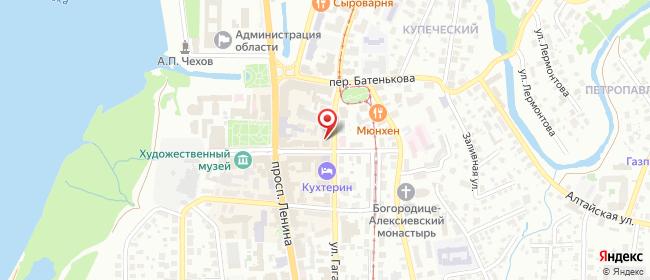 Карта расположения пункта доставки Томск Гагарина в городе Томск
