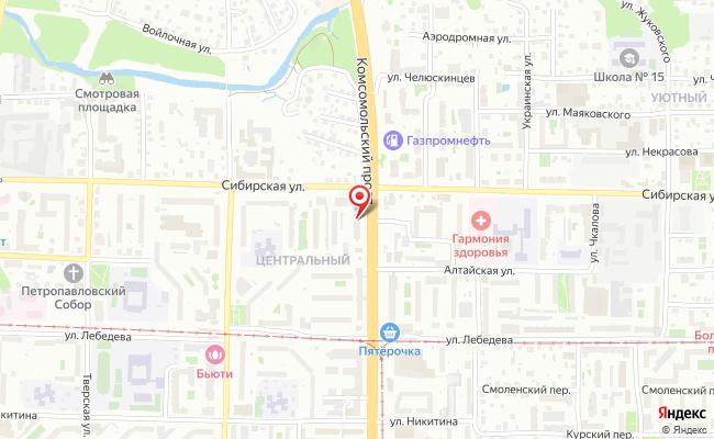 Карта расположения пункта доставки Томск Комсомольский в городе Томск