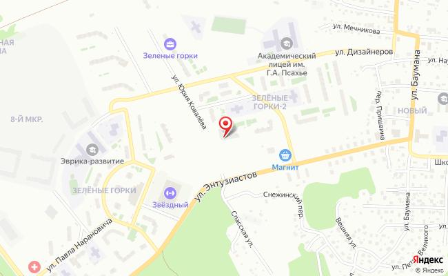 Карта расположения пункта доставки Томск Юрия Ковалева в городе Томск