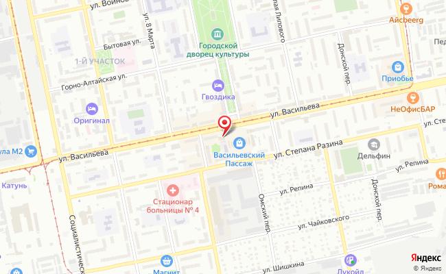 Карта расположения пункта доставки Пункт выдачи в городе Бийск