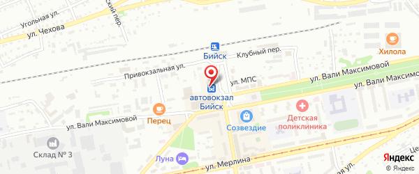 Место расположения автовокзала в г. Бийск на Яндекс.Картах