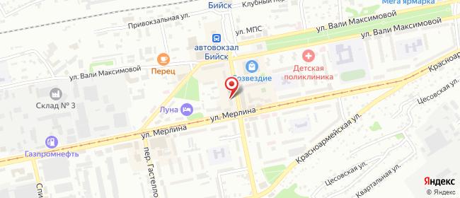 """Карта расположения пункта доставки Бийск Михаила Митрофанова 33 (магазин """"Вестфалика"""") в городе Бийск"""