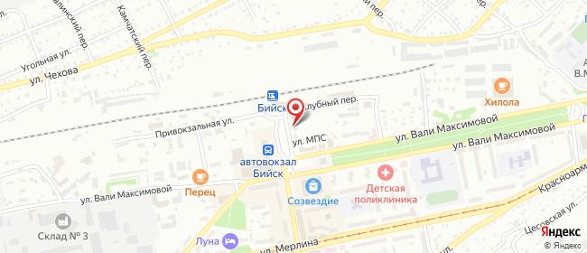 """Карта расположения пункта доставки Бийск площадь Шукшина 8 (магазин """"Фабрика Обуви"""") в городе Бийск"""