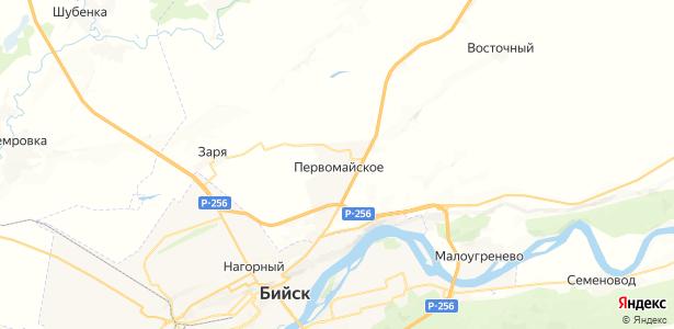 Первомайское на карте