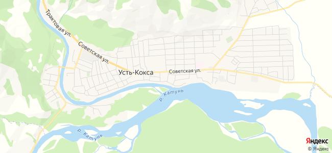 Усть-Кокса - объекты на карте