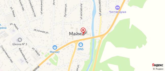 Карта расположения пункта доставки Майма Ленина в городе Майма