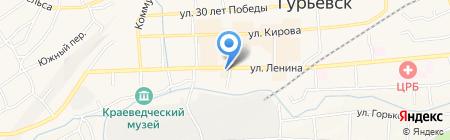 Меридиан на карте Гурьевска