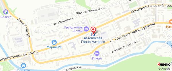 Место расположения автовокзала в г. Горно-Алтайск на Яндекс.Картах