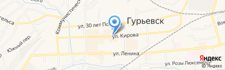 Киоск по продаже цветов на карте Гурьевска