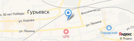 Сеть продовольственных магазинов на карте Гурьевска