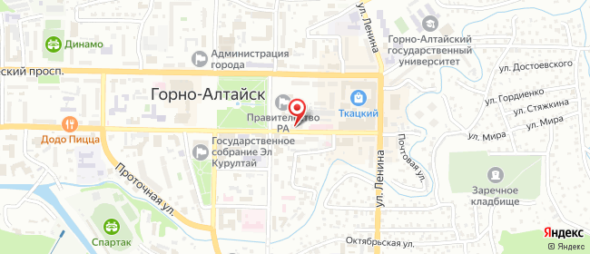 Карта расположения пункта доставки Siberian Wellness в городе Горно-Алтайск