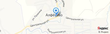 Продуктовый магазин на Центральной на карте Алферово