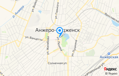 Местоположение на карте пункта техосмотра по адресу Кемеровская область - Кузбасс, г Анжеро-Судженск, ул Ленина, д 13