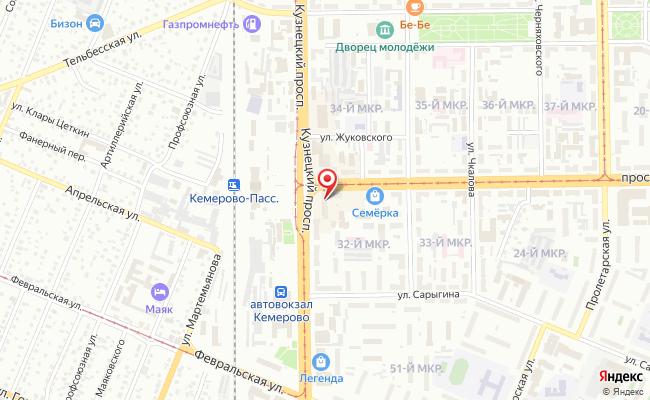 Карта расположения пункта доставки Westfalika в городе Кемерово